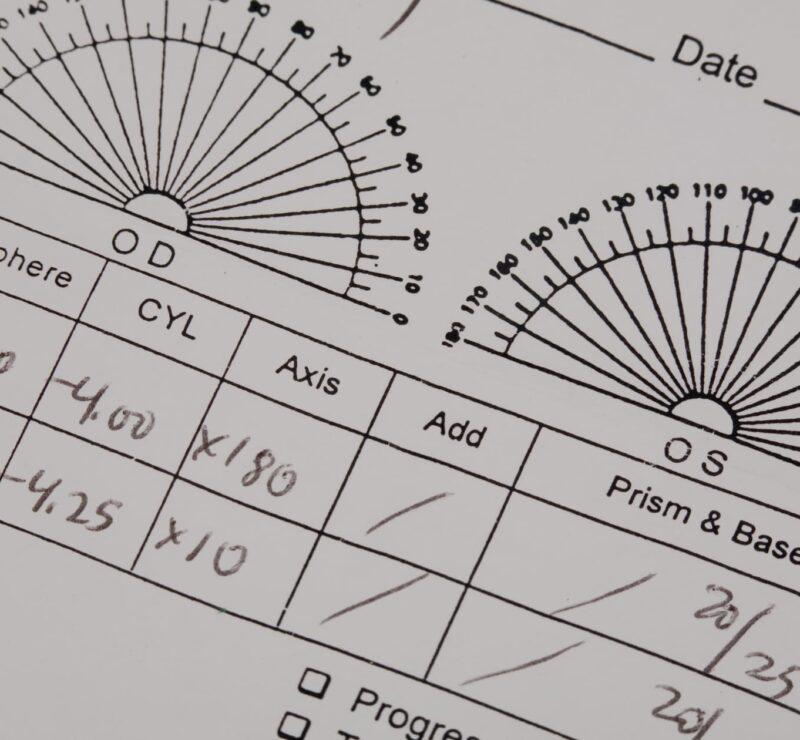 A sample of an eye prescription card