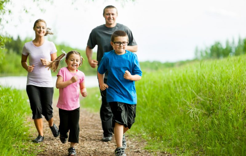A family jogging